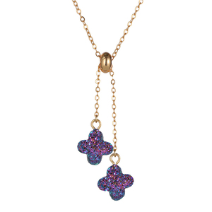 Four leaf clover gold plated custom statement druzy pendant jewelry fashion necklaces for women and girls