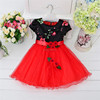 2016 new pattern hot sale red and blue children party dresses india wholesale