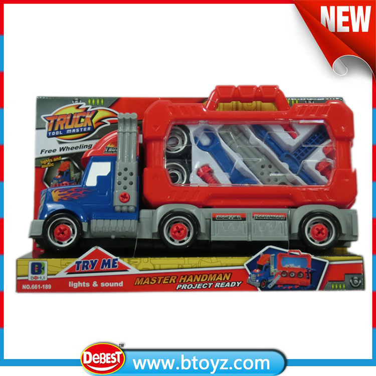 kids plastic semi truck with various tools toy
