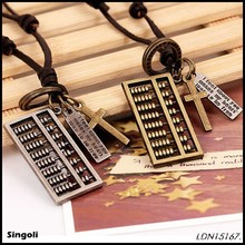 Chinese special alloy abacus pendant PU leather chain necklace with cross and customized intial bar necklace