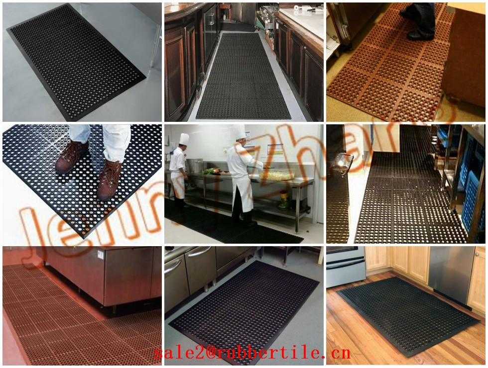 Oil Proof anti-fatigue restaurant black 16MM round hole rubber flooring mat