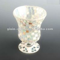 Natural Seashell&Mirrored Glass Mosaic Candle Holder for home decoration