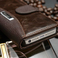 Top selling retro style leather flip open case for iphone 4/4s