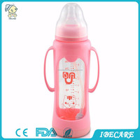 cheap china OEM good selling on alibaba BPA FREE glass baby feeding bottle 120ml baby feeding bottle warmer used in car
