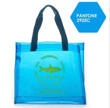 Custom fashion promotional PVC beach bag with polyester pouch