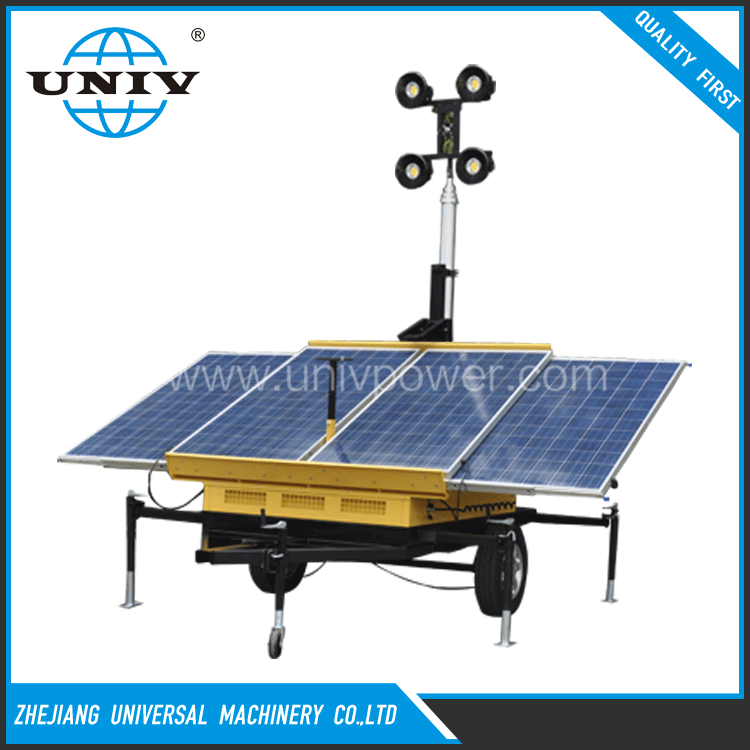 Zhejiang rechargeable green energy power mobile solar lighting tower