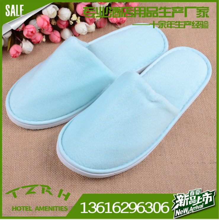 short plush thick sole blue top quality hotel slipper