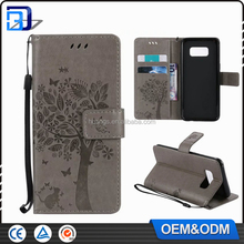 Premium PU Leather Purse Wallet Emboss Tree & Cat Pattern Magnetic Folio Flip Skin Case Cover for Samsung Galaxy S8