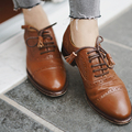 Wholesale Custom Italian Fashion Genuine Leather Comfortable Ladies Low Heel Girl Oxfords Women Dress Shoe