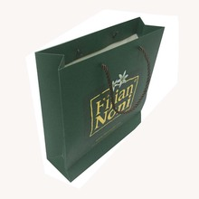 Custom Made Full Printed Gold Logo Stamped Paper Gift Bags With Rope Handles