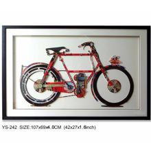 Modern Framed Indoor Decoration Red Bicycle Paper Collage Wall Art