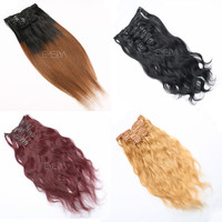Wavy and straight colored styles hair extensions clip in human hair
