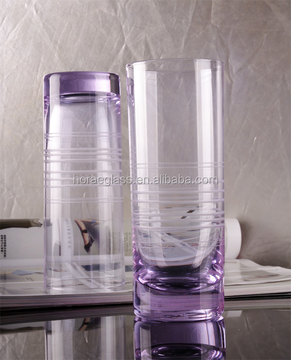 China Manufacturer Handmade Large Plain Purple Cylinder Glass Vase