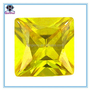 Yellow Square shaped Cubic Zirconia stone