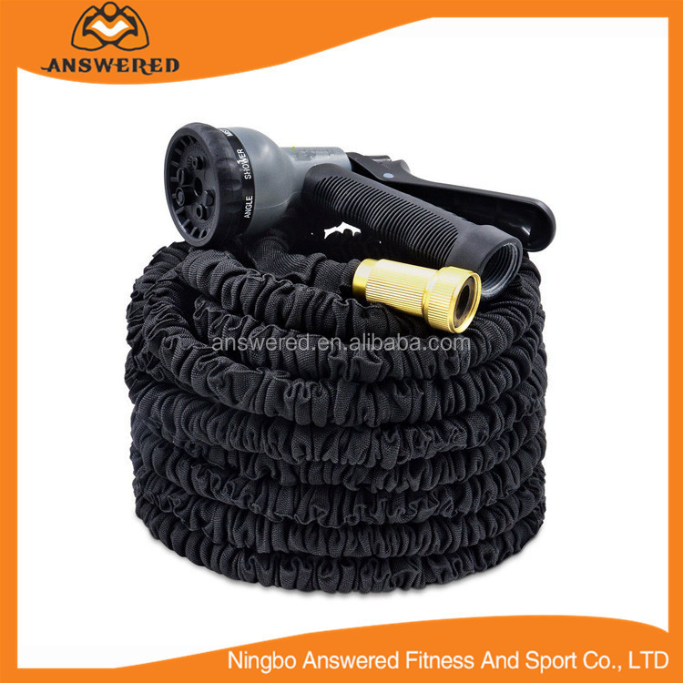Expandable Fabric Expanding Garden Water Hose Set with 8 Pattern Spray Nozzle, Solid Brass Connector Fittings