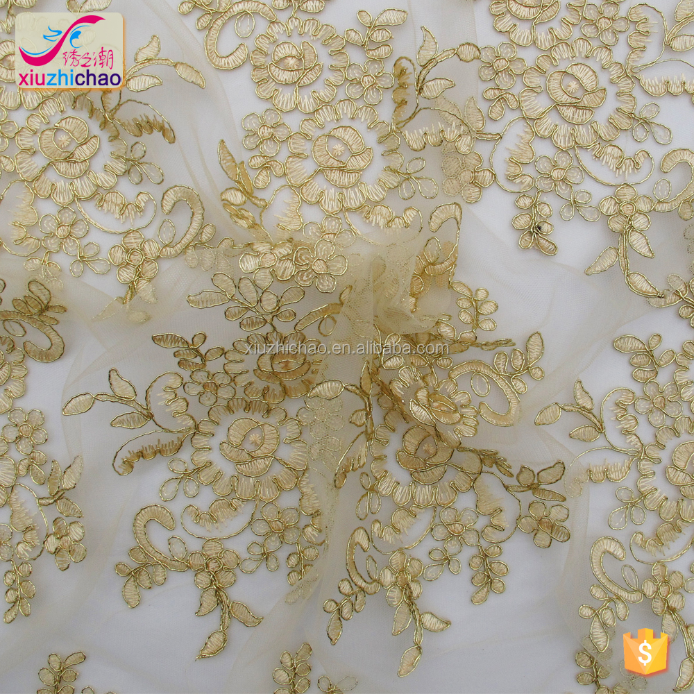 Online selling gold corded embroidery beaded cheap lace fabric for bridal dresses
