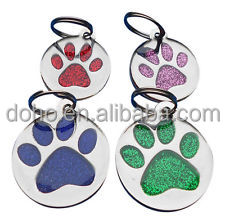 factory manufacture custom Personalised Engraved Glitter Paw Print dog tag cheap Dog Cat Pet ID Tags