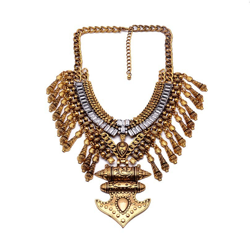 Fabulous! Large metal necklace Vintage metal necklace Women metal collar necklace