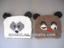 cute winter animal hand make knitted pom pom hats