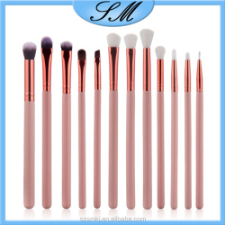 Pink handle + Rose Gold tube eyeshadow 12pcs makeup brush set private label make up brushes