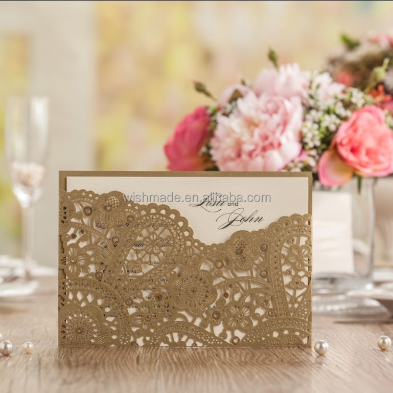 personalize Gold laser cut wedding invitation card +envelope+inner card+seal cw5262