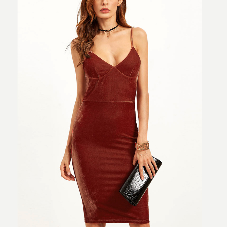 Lady Fashion Dress Brick Red Velvet Cami Tight Pencil Formal Dress