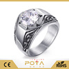 POYA Jewelry Mens Silver Stainless Steel Ring Vintage Wedding Jewelry White Cubic Zirconia Inlay Engagement Promise Band for him