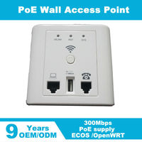 Wireless AP 300mbps Mini Hotel In Wall AP Wifi Indoor High Power1 LAN Port 1 USB Charger 48V POE WDS Gateway/AP/Repeater Mode