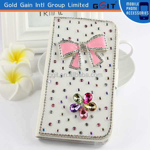 Hot Sell PC Flip Cover Case For Samsung For Note 3 With Diamond
