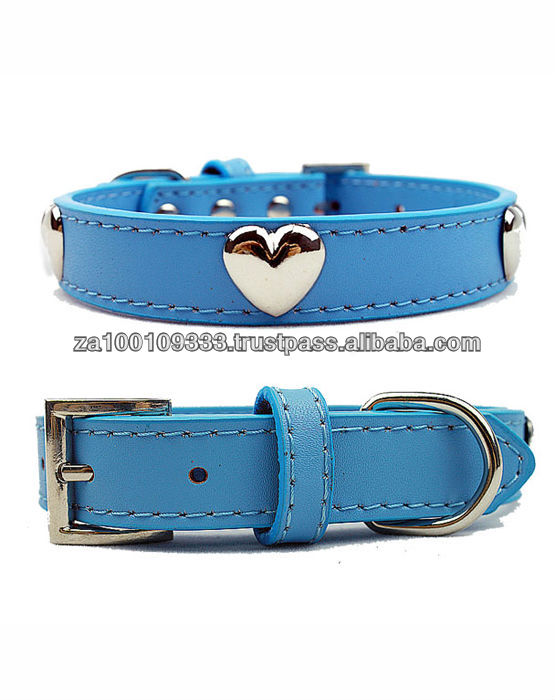 Heart Real Leather Dog Collar