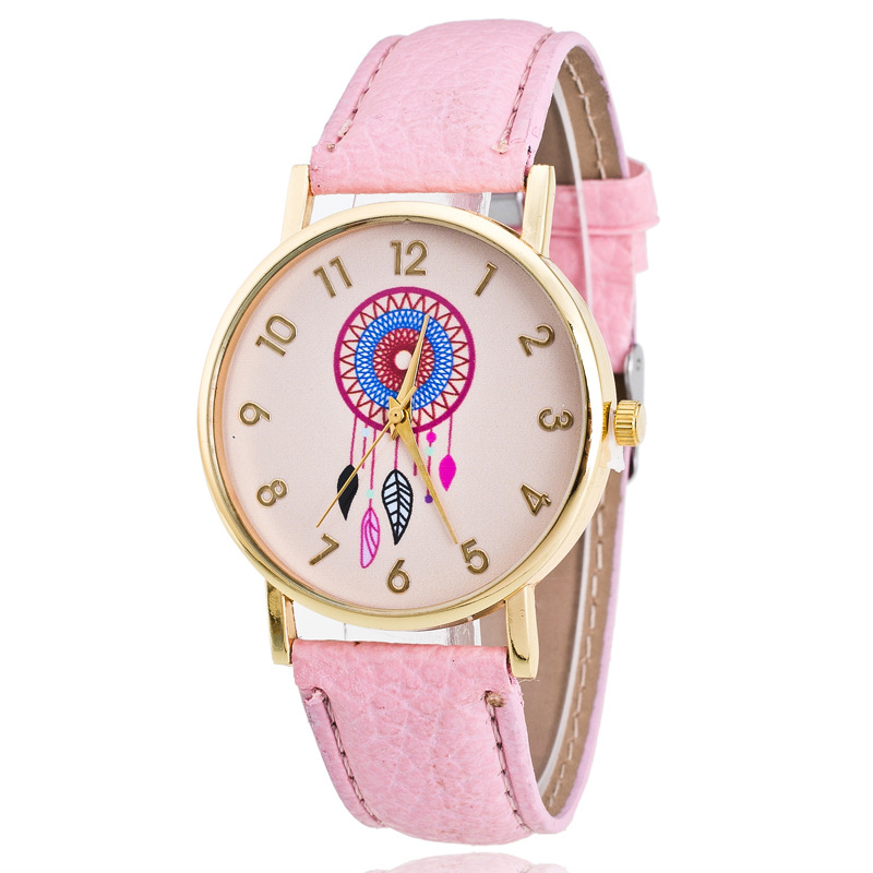 2016 4 colors fancy elegance watch women lady fashion design alloy case hot sale student PU leather watch bracelet