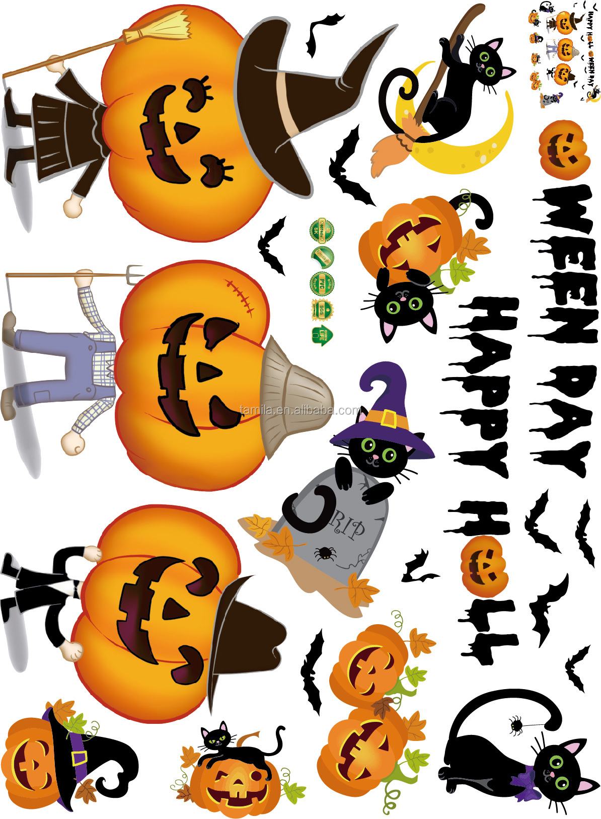 Halloween Pumpkin Design Self-adhesive Kids Wall Decoration PVC Sticker
