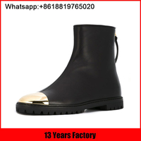 2016 Winter OEM customized new design you never see genuine leather special flat women ankle golden boots