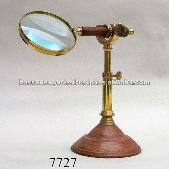 New Antique Wooden Handle Magnifying Glass on Stand
