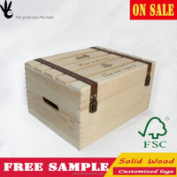 customized pine unfinished sell used wine wooden box for sale
