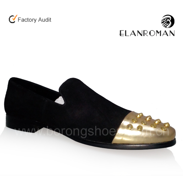 2017 new style black men rivet loafers shoes