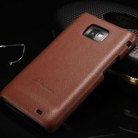 fashion lichee pattern hard case genuine real leather back cover case for samsung galaxy s2 i9100