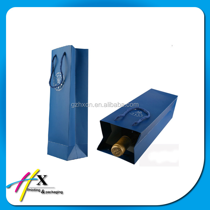 Luxury high quality single bottle wine paper bag custom printed gift bags