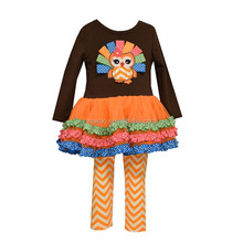 2016 yawoo kids halloween costumes bulk wholesale thurkey peocock applique brown shirt baby girls outfits clothing sets