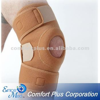 Orthopedic neoprene knee support with open knee silicone pad