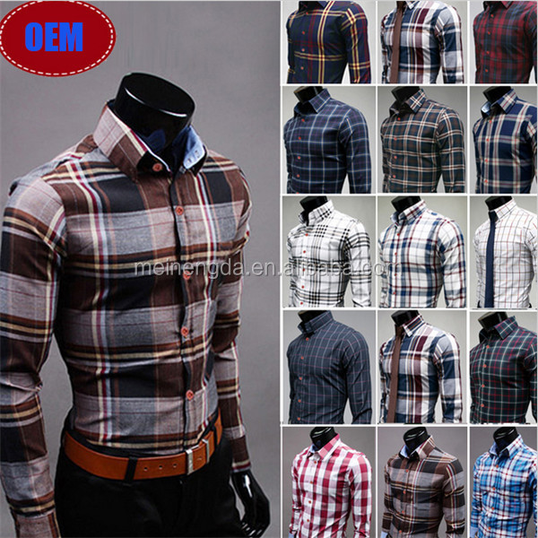 Hot new products for 2016 uk fashion latest new model 100% cotton slim fit check men's dress long sleeve shirt