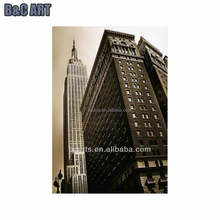BC13-3295 High quality decorative canvas famous building paintings of Empire State in black and white