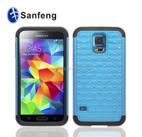 Factory Price Supply Official Original Rubberized Star Diamond Pattern with Silicone Combo Case Cover For Samsung Galaxy S5