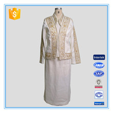 Modern Suits for Women 3 Pieces Skirt Set With Gold Heavy Embroidery Church Suit Busniess Suit