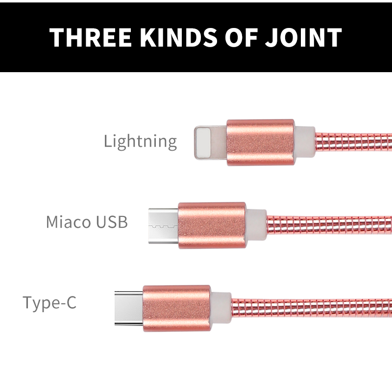 Elasticity Stainless Steel Braided mobile phone fast charger cable for iphone lightning cable.jpg