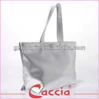 silver pu waterproof beach bag, women shopping bag