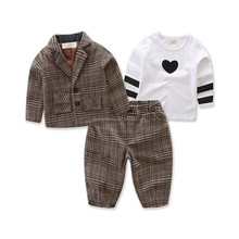 Wholesale Autumn Kids Boys Girls Business Suit 2-5T Children Clothes Coat+Pants+Shirt