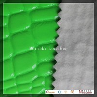 MRD2394 stone Embossed green fluorescent color synthetic leather roll for bags