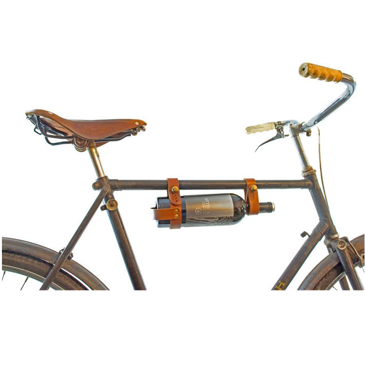 Portable Custom Design Leather Bicycle Wine Bottle Holder