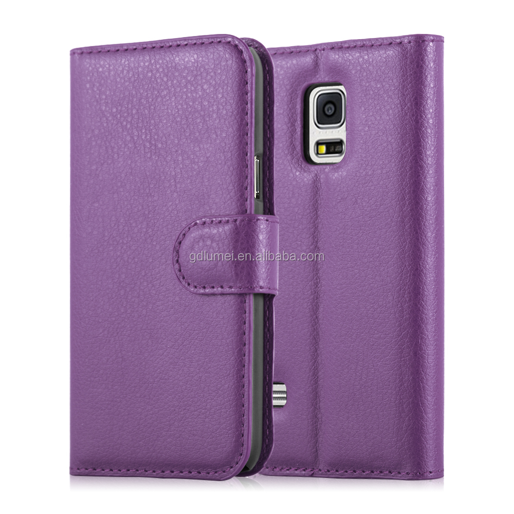 Hot Selling Lichee purple Wallet Flip PU Leather Case Cover for samsung galaxy S5 mini Case